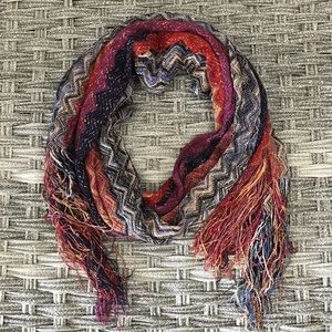 Multicolored Scarf w/ Fringe Detail